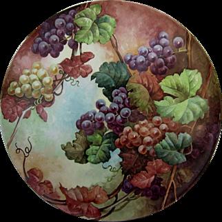 """SALE Tremendous 18"""" Limoges H.P. Plaque w/ Purple, Red and White Grape Décor"""