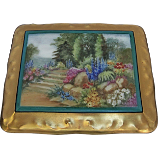 """SALE Limoges H.P. Playing Card Box w/Scenic Landscape and Gold- artist signed """"PR Gibbs"""""""