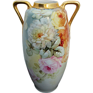 "SALE H.P. Austrian 15 ½"" Pink & Yellow Roses Handled Vase"