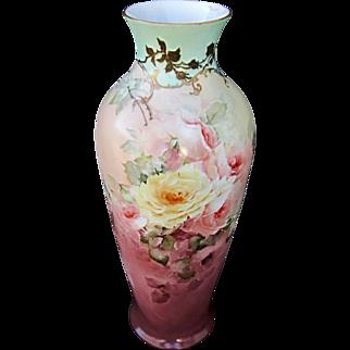 """SALE Hand Painted 17 ¼"""" Roses Vase w/Light Aqua Trim"""
