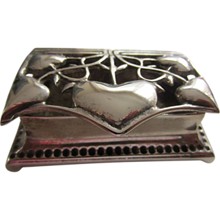 SALE Art Nouveau Silver Plated Stamp or Trinket Box