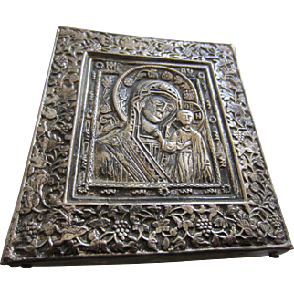 Madonna and Child Ornate Repoussé Metal Icon