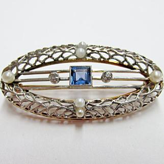 SALE Vintage Sapphire, Diamond & Cultured Pearl Filagree Brooch