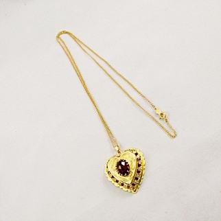 SALE Vintage Heart Shaped Garnet Locket