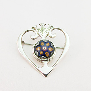 SALE Vintage Scottish Silver and Millefiori Glass Pin