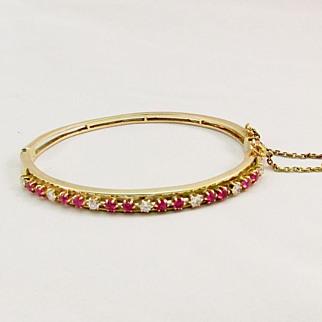 SALE Vintage Fine Diamond and Ruby Bracelet