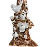 Japanese Antique Rare Brown and White Hirado 平戸 Porcelain Birds on Tree