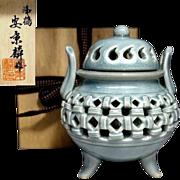 Korean Vintage Celadon Hyanglo or Incense Burner with Open Work or Eiji Style