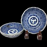 Japanese Antique 伊万里 ko-Imari Pair of Porcelain Blue and White Namasu Bowls in Mijin- karakusa Design