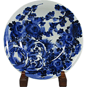 Japanese ko-Imari Porcelain Huge Platter in Blue and White Floral Painting