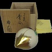 Japanese Banko Ware Pottery Kogo or Incense Case by Human Cultural Treasure Zuizan Kaga III