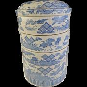Japanese Edo Period ko-Imari Inban 腱 Transferware Porcelain  Multi-Tiered Box