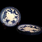 Japanese Vintage Arita Nabeshima Small Porcelain Plates Set with Karako and Butterflies
