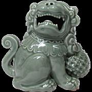 Japanese Antique Nabeshima 鍋島 Okimono or Statue Celadon Glaze of Shishi Lion