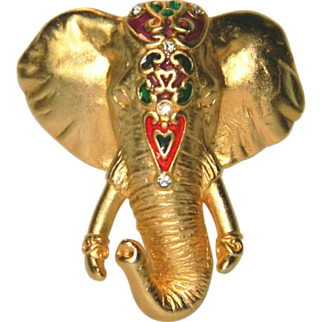 REDUCED Elephant Brooch by American Jewelry Chain c.1980