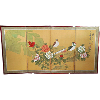 REDUCED Japanese Painted Silk Byobu Screen