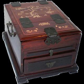 Chinese Rosewood and Inlaid Bone Dressing Box