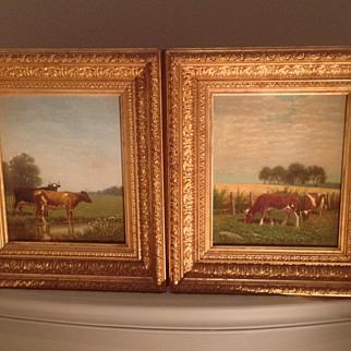 Pair of American oil paintings by Clinton Loveridge(NYC 1824-1902)
