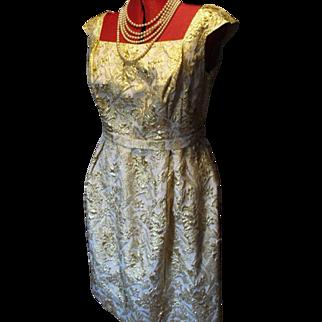 Vintage Short Cocktail Dress in Gold French Brocade