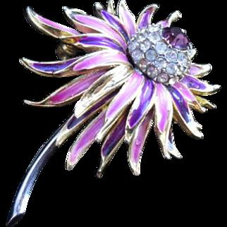 Vintage Crysanthemum Brooch from 1950s