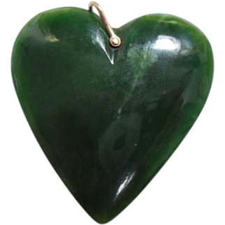 Large Nephrite Jade Heart Pendant