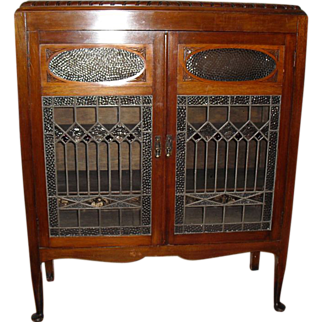 SALE Elegant Bibliotheque or Bookcase with stained glass doors.