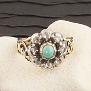 Antique Georgian Turquoise and Diamond Ring
