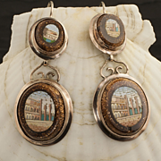 Antique Victorian Micro Mosaic Earrings