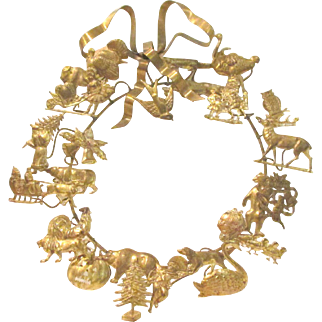 Vintage Petites Choses Brass Dresden Victorian Style Seasonal Holiday Wreath ~ Valentine's Day ~ Easter ~ Halloween ~ Thanksgiving ~ Christmas ~ New Year's