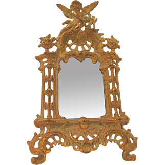 Art Nouveau ~ Beatrice ~ Cherub Framed Ornate Easel Mirror with Amazing Patina