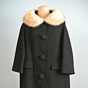 Black Wool Swing Coat With Blonde Mink Collar.