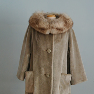 Silver/Blonde Faux Fur Swing Coat With Silver Fox Collar
