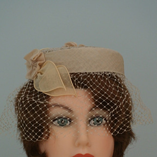Light Taupe Vintage Crown/Church Hat