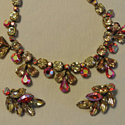 "Signed ""Regency"" Glittering Necklace And Clip Earrings"