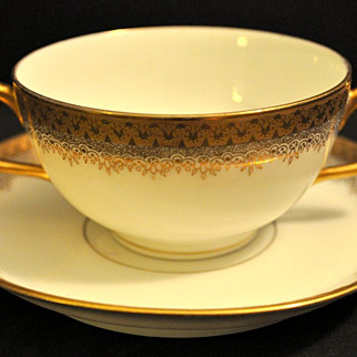 SALE A&D Limoges Two-Handled Gold Soup or Bouillion Cup/Bowl and Saucer