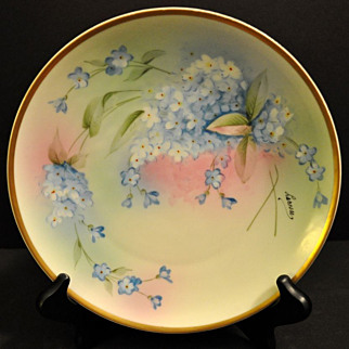 Forget Me Not Flower Plate, Heinrich and Co, Artist Signed, Early 1900s, Bavarian