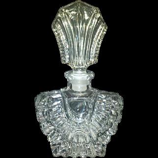Perfume Bottle, Art Deco, Cut Glass, Large, Vintage Vanity