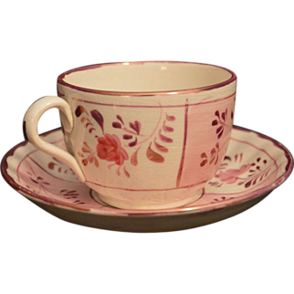 Pink Lusterware Teacup Allerton England Antique