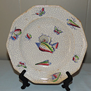 Antique White Ironstone Plate w Painted Seashell & Butterfly