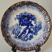 Vintage Flow Blue Cabinet Plate Cherub Angel in Clouds