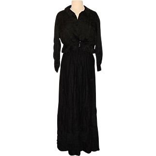 Late Victorian Edwardian Black Silk Mourning Shirtwaist Blouse and Petticoat Skirt