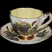 Queen Anne Bone China Cup & Saucer Purple Plum