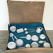 1900's French Enamel Child Miniature Kitchen utensils Set Boxed Doll Toy Enamel ware