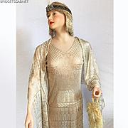 1920's Assuit Dress and Shawl Flapper Art Deco Mannequin Gold Lame
