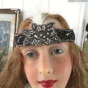 French Flapper Rhinestones Headdress Headband Cloche