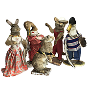 Beautiful scene of 5 different 1930's French Taxidermy Anthropology Animals