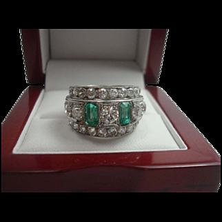 SALE Art Deco 3.90 cttw Diamond and Emerald Platinum Eternity Ring