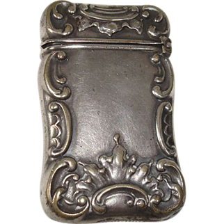 German Silver Art Nouveau Match Safe or Vesta