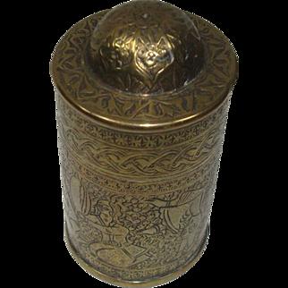 SALE Figural Scenes  Brass Domed Top Match Safe