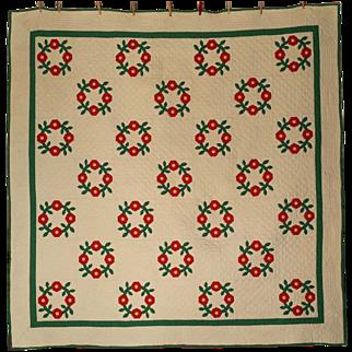 REDUCED Antique Handmade Quilt Circa 1900 Pennsylvania Dutch Flower Wreath